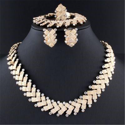 African Wedding Jewelry Dubai Gold Color Jewelry Set Romantic Color Design Jewelry Set Necklace