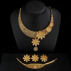 Wedding Accessories Women's Necklaces Earrings Rings Bracelets Jewelry Diamonds Flowers Four-piece Set