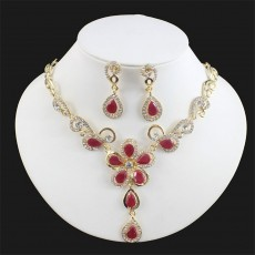 Bridal Banquet Jewelry Set Flower Necklace Earrings Wedding Set Alloy Accessories
