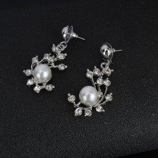 Silver Pearl Jewelry Set Bridal Necklace Earrings Wedding Two-piece Banquet Accessories