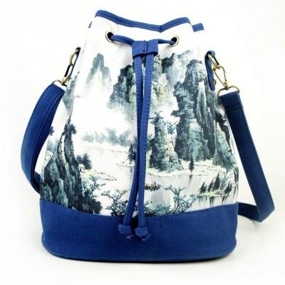 2021 New Backpack Original Canvas Bag Retro Printing Bucket Bag Ethnic Style Female Bag