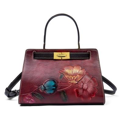 Cowhide Shoulder Handbag New Fashion Messenger Bag Embossed Mother Bag