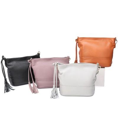 Creative Design Ladies Cowhide Shoulder Bag Leather Fashion Cowhide Bucket Messenger Bag