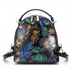 Hand-painted Leather Backpack Retro embossed Ethnic Style One-shoulder Handbag For Women