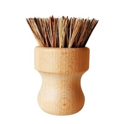 Kitchen Household Wooden Cleaning Brush Plant Silk Mixed Brown Hand-held Seal Brush Dishwashing Brush