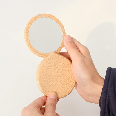 Solid Wood Portable Small Mirror Makeup Travel Mirror Foldable Pocket Mini Mirror For Girls