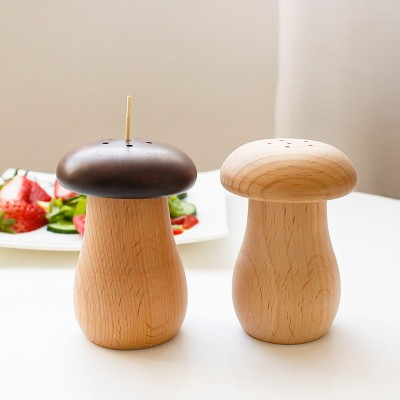 Japanese Style Wooden Creative Cute Cartoon Small Mushroom Toothpick Holder Beech Wood Toothpick Jar Storage Box