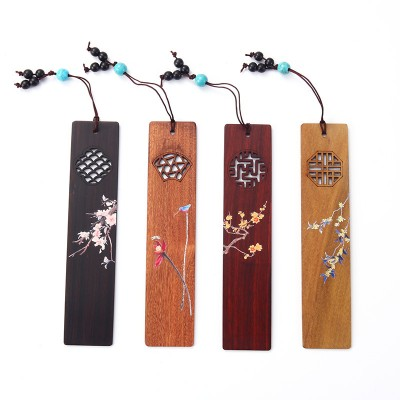 Creative Classical Bookmark Chinese Style Cultural Simple Gift Semi-handmade Exquisite Mahogany Wooden Bookmark Set
