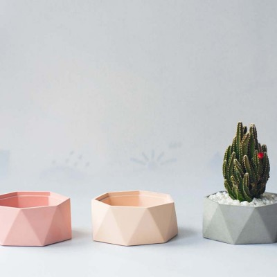 Cement Material Original Geometric Polygon Succulent Flower Pot Personality Simple Flower Creative Gift Home Accessories