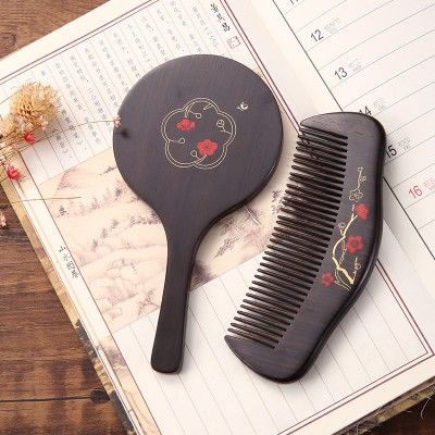 Natural Sandalwood Comb Chinese Style Home Massage Anti-static Handleless Fine Tooth Plum Sandalwood Comb For Female