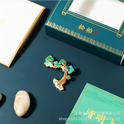 Chinese Style Metal Enamel Brooch Badge Gift Box Business Gift Customization Gift