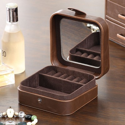 Retro Travel Portable Jewelry Box Small Earrings Earrings Jewelry Necklace Storage Box