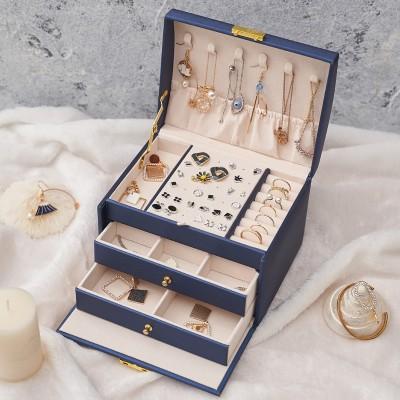 Three-layer Leather Drawer Type Jewelry Storage Box Creative Jewelry Box Earring Jewelry Box With Lock