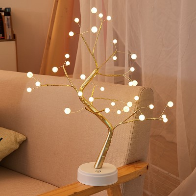 LED Tree Lamp Pearl Pendulum Table Lamp Copper Wire Lamp Firefly Room Decoration Night Light