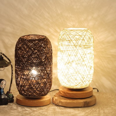 Three-color Bedroom Bedside Decoration Creative Rechargeable LED Night Light Wooden Twine Sepak Takraw Table Lamp Hemp Ball Small Table Lamp