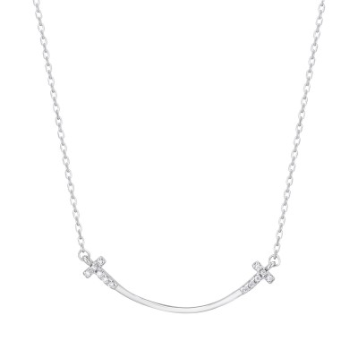 925 Sterling Silver Smile Necklace Female Temperament Smiley Face Clavicle Jewelry Jewelry