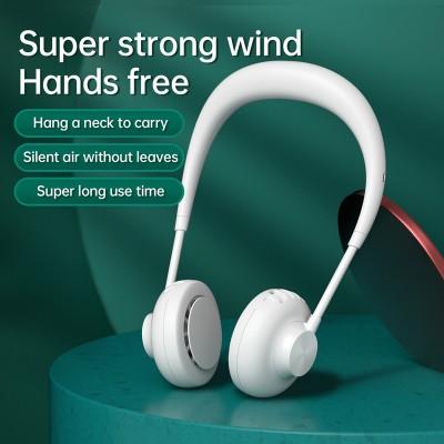 2021 Hanging Neck Fan Leafless USB Mini Fan Portable Super Strong Wind Fan