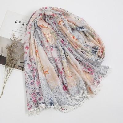 Anti-Sai Bohemian Style Thin Cotton Linen Hand-feel Floral Lace Scarf Shawl