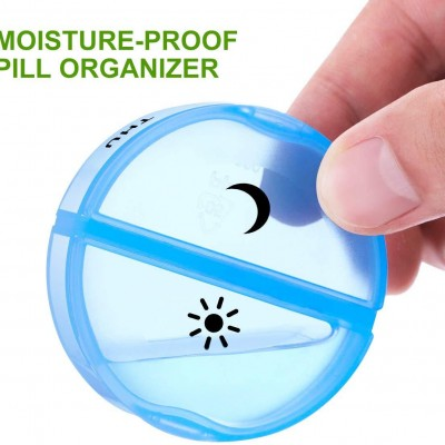 2021 Mini Portable One Week Morning And Evening Pill Box,14-compartment Plastic Pill Box