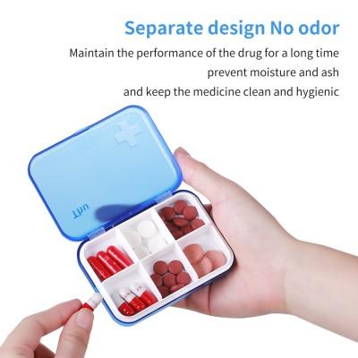 Portable Seven-day Pill Box Home Travel Plastic Pill Box Six Compartments Pill Box Organize Drawer Type Pill Box
