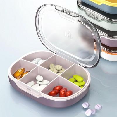 Sealed Medicine Box Portable Four Or Six Grid Transparent Environmental Protection Plastic PP Medicine Storage Box