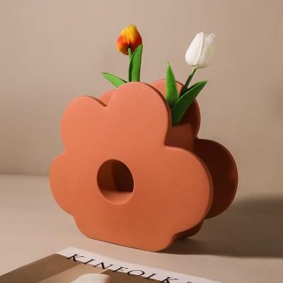 Morandi Color Flower Vase Decoration Geometric Art Flower Table Porch Ceramic Flower Decoration