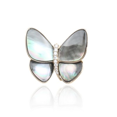 Diamond-studded Natural White Shell Carved Butterfly Brooch Insect Brooch for Women