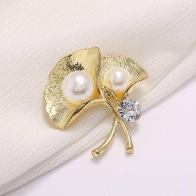 Fashion Lotus Brooch Micro-inlaid Zircon Pearl Brooch Temperament Clothing Brooch