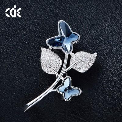 Elegant Female Brooches Swarovski Elements Crystal Butterfly Brooch