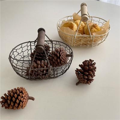 Wrought Iron Storage Basket Retro Metal Fruit Plate Fruit Basket Bread Basket Living Room Fruit Plate