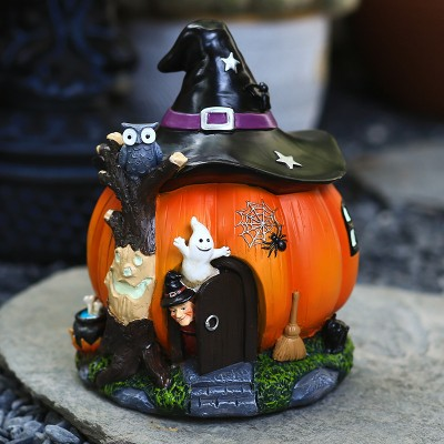 Halloween Witch Pumpkin House Decoration Ornaments Luminous Resin Crafts Holiday Gifts Gifts