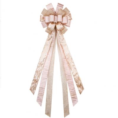 Christmas Champagne Handmade Bow Christmas Decoration Satin Cloth Bow Diy Wire Edge Bow
