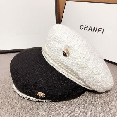 Korean Retro M Standard Beret Hot Diamond Pearl Flat Top Painter Hat Female Autumn Thin Cute Hat