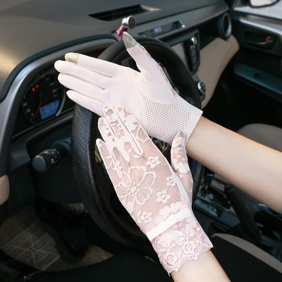 Thin Sunscreen Riding Non-slip Touch Screen Thin  Short Ice Silk Lace Breathable Gloves