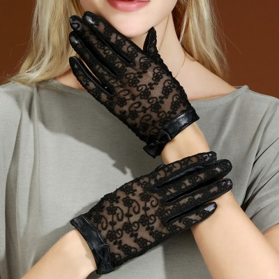 Sunscreen Gloves for Driving Thin Touch-screen Sheepskin Korean Ladies Lace Bow Leather Gloves