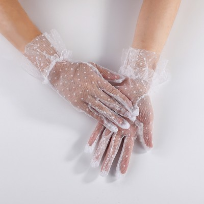 Black Polka Dot Short Lace Breathable Riding Sunscreen Gloves Women Wedding Bride Wedding Gloves