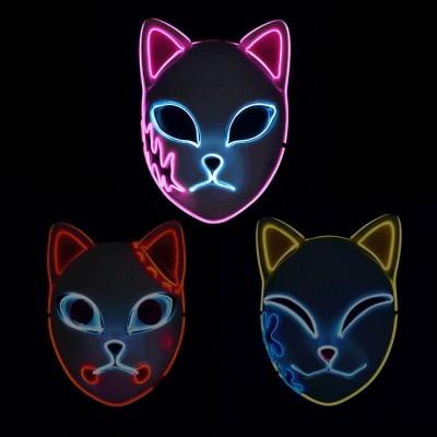 Blade Luminous Mask EL Luminous Wire Mask LED Luminous Cat Face Mask Props Halloween Mask