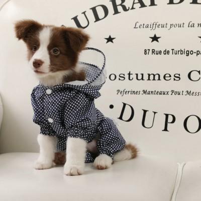 Dog Raincoat Korean Polka Dot Summer Outing Four-legged Waterproof and Dustproof Clothes Puppy Pet Raincoat