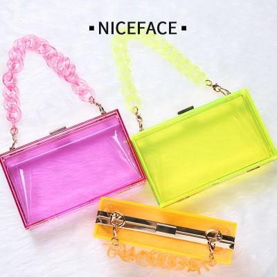 Single Shoulder Messenger Transparent Acrylic Handbags Portable Personalized Chain Small Square Bag Korean Dinner Acrylic Bag