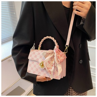 2021 Summer Portable Messenger Small Bag Silk Scarf Bow Embossed Pink One-shoulder Small Square Bag