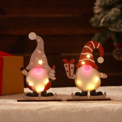Christmas Decoration Luminous Christmas Faceless Elderly Wooden Ornaments LED Luminous Forest Elderly Decoration