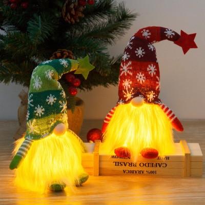 Christmas Doll Illuminated Rudolph Dwarf Gaceless Old Doll Ornament Ornaments
