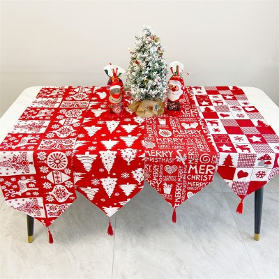 Christmas Table Runner Christmas Decorations Red Elk Lattice Tree Cotton Cloth Table Runner Christmas Tablecloth Table Decoration