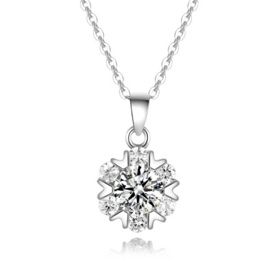 Women's Cold Wind S925 Silver Bright Star Necklace Silver Fashion Classic Individual Wrapped Clavicle Chain