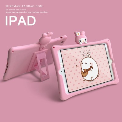 3D Cute Cartoons With Bracket Tablet Case Cover For iPad 2017 2018 Silicone Soft Shockproof Case For iPad mini 123 Air 123 Pro