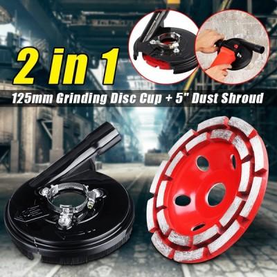 125mm Double Row Diamond Segment Grinding Cup Wheel Disc + 5 Inch Dust Shroud Set For Angle Grinder Millstone Brick Cut Tool