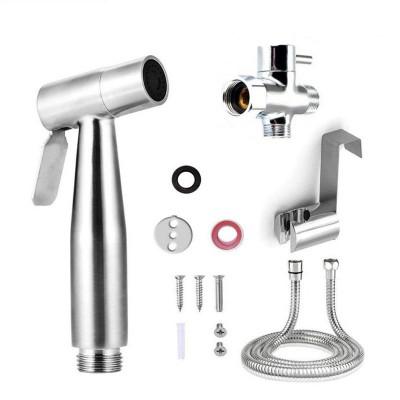 Toilet hand held bidet sprayer kit brass chrome plated bathroom bidet faucet spray shower head with hose & T-adapter & holder