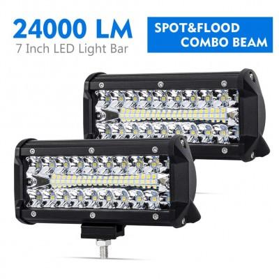 7 Inch LED Pods Spot Flood Combo Beam Liteway 24000 LM Triple Row Light Bar Off Road Driving Led Work Lights