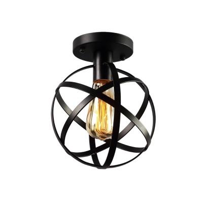 Vintage Industrial Metal Spherical Ceiling Lamp Light Fixture Flush Mount Ceiling Light for Hallway Stairway Porch Bedroom Kitchen