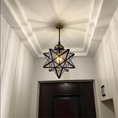 Modern Moravian Star Pendant Light Seeded Large Glass Star Lights with Chain